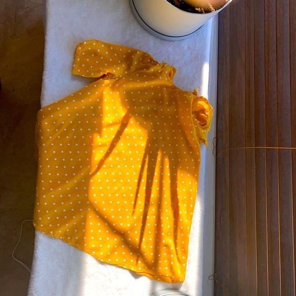 Mustard yellow polkadot dress